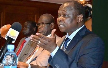 South Sudan's ruling SPLM party secretary general Amum talks to the media after meeting with officials from Sudan in Ethiopia's capital Addis Ababa