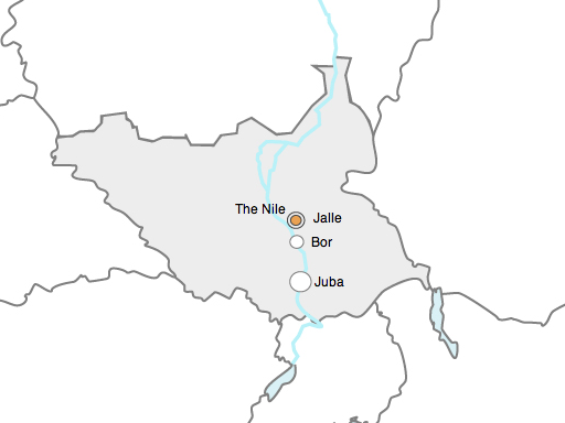 Map of South Sudan Bor Juba Jalle